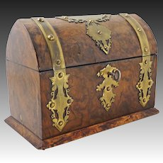 Antique Burl Wood Chest Box Casket Brass Studs Banding - 19th Century, England