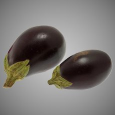 Trompe L'Oeil Pair Aubergine / Eggplant Ceramic Studio Pottery Realistic