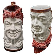 French Majolica Double Face Husband and Wife Jug