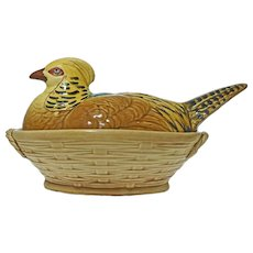 French Sarreguemines Majolica Terrine Tureen Game Pheasant Basketweave Large - circa 1900, France