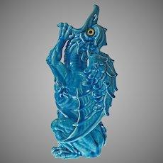 Burmantofts Leeds Grotesque Dragon Figure Turquoise Majolica Faience Glass Eyes Large - c. late 19th Century, England