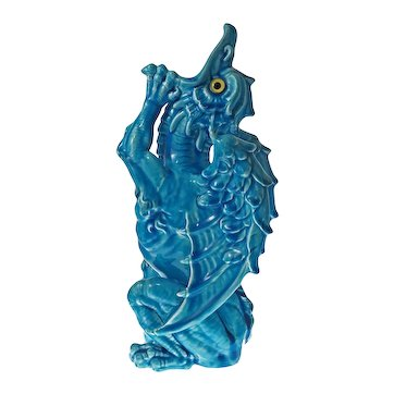 Grotesque Dragon Figure Turquoise Majolica Faience Glass Eyes Large - c. late 19th Century, England