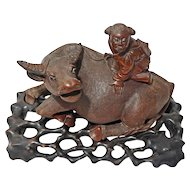 Chinese Carved Wood Boy Water Buffalo on Fitted Hardwood Base - 20th Century, China