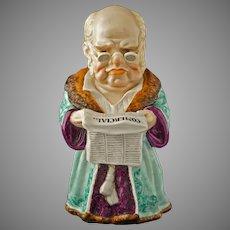 Tobacco Jar Gentleman Reading Newspaper Conta Boehme Porcelain - circa 1880, Germany