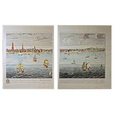 Pair Vintage Colonial City of Philadelphia Engravings Limited Edition 154/500 after Nicholas Scull / George Heath