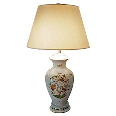 Herend Rothschild Basketweave Large Table Lamp Porcelain Birds - 20th Century, Hungary