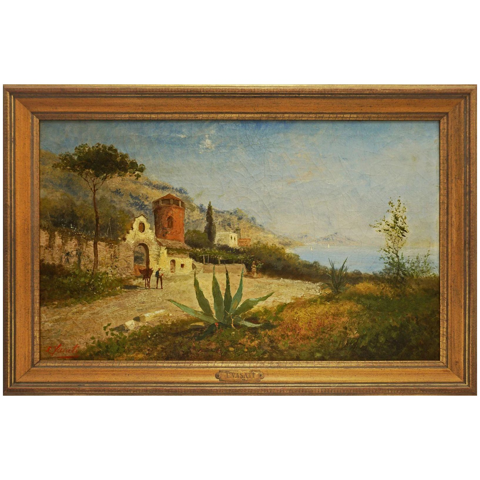 Italian Landscape Oil Painting Countryside Figures Signed Framed