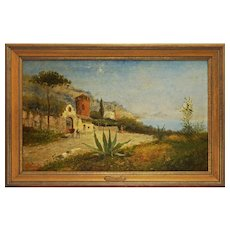 Large Oil Painting Italian Landscape View Bay Signed Framed - c. 1900's, Italy