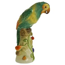 Herend Parrot on Branch Bird Figurine 5171 Green- 20th Century, Hungary