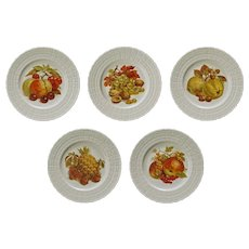 Set Five Hutschenreuther Vintage Fruit Nuts Porcelain Wall Cabinet Plates - circa 1976 to 1983, Germany