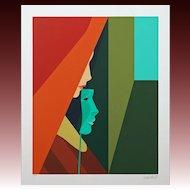 Amleto della Costa Green Mask Signed Color Serigraph Framed COA Limited Edition - 1984, Milan Italy