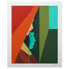 Amleto della Costa Green Mask Signed Color Serigraph Framed COA Limited Edition - 1984, Milan Italy