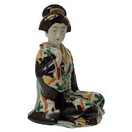 Kutani Seated Geisha Figure Japanese Pottery - Japan