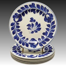 Set Six Delft Tulip Foliage Wreath Border Plates Blue White