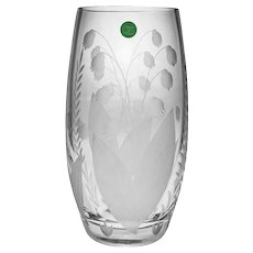 Tiffany & Co. Lily of  the Valley Vase Crystal Glass Signed Tall - 20th Century, USA