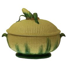 Jose Cunha Sucessor Faience Majolica Corn Soup Tureen Large