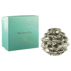 Tiffany & Co. Pinecone Orb Crystal Glass Candlestick / Candle Holder Modern - 20th Century