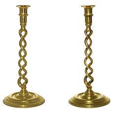 Pair Bronze Open Barley Double Twist Candlesticks Brass
