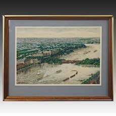 Hamburg Watercolor Painting Alster River Lombard Bridge Signed Framed Modern 20th Century