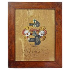 Armorial Augsburg Berman Coat of Arms Hand Painted Lithograph Print Framed Surname Genealogy - Augsburg, Germany