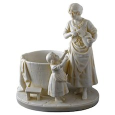 A.W.F. Kister Bisque Porcelain Mother and Daughter Jardiniere Cachepot Planter Figurine - after 1905, Germany
