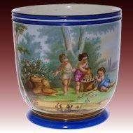 Large Antique Paris Porcelain Jardiniere Painted Allegory Summer Children Fishing