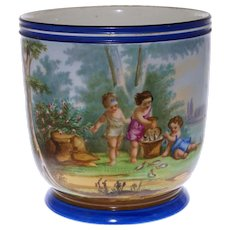 Large Antique Paris Porcelain Jardiniere Painted Allegory Summer Children Fishing