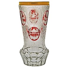 Biedermeier Glass Beaker Goblet Etched Red Ruby Gilt Rim