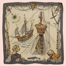 Hermes Paris Ledoux Caravelle Silk Scarf Carre Nautical Historic