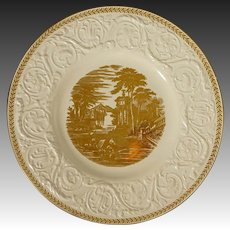 Pair Old Wedgwood Patrician Gilt Cream Embossed Flowers & Scrolls Plates - 1930's, England