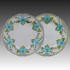 Pair Minton Secessionist Ware Art Nouveau Glazed Majolica Ivory Ground Earthenware Plates Antique England