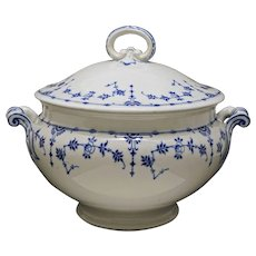Antique Minton Lidded Soup Tureen Danish Pattern Blue White - Circa 1892, England
