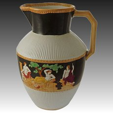 Antique Roman Toga Portland Decor Large Lustre Pitcher Jug English Registry Mark 1866 and 1877