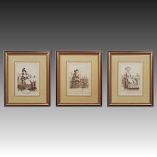 Etchings After George Moutard Woodward Set of 3 British Caricature Satirical Genre Framed