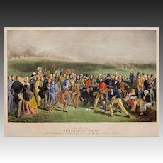 The Golfers St. Andrew's Links Hand-Colored Engraving by Wagstaff after Lees Scotland Framed