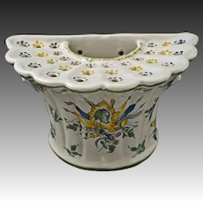 Faience Wall Pocket Tulipiere Flower Pot Jardiniere Planter Devil Masks