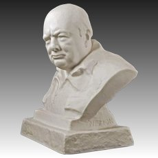 Winston Churchill White Parian Bust Spode First Edition signed Nemon - circa 1965, England