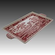 Red Spode Tower Large Sandwich Tray with Handles - circa 1955, England