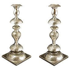 Antique Pair Fraget  Silverplate Candlesticks Russia Imperial Eagle Large Shabbat - 1896 to 1915, Warsaw Poland
