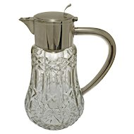 WMF Large Pitcher with Ice Insert Silver Plate Mounted Cut Crystal - 1935 - 1945, Germany
