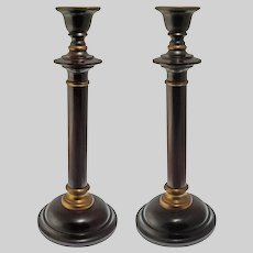 Pair Georgian Style Mahogany Stained Wood and Brass Candlesticks Large Massive