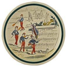 Creil et Montereau Musical Faience Terre de Fer Transferware Plate - late 19th / early 20th C. mark, France