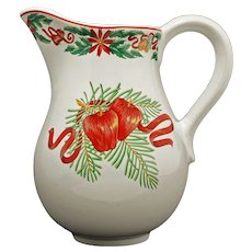For Tiffany & Co. Design Large Porcelain Pitcher Apples Pears Holly