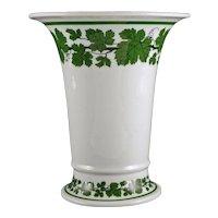 Early Meissen Green Vine Porcelain Trumpet Vase Crossed Swords - from 1924 mark, Germany