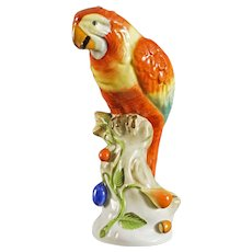 Herend Parrot on Branch Bird Figurine 5000 Red - 20th Century, Hungary
