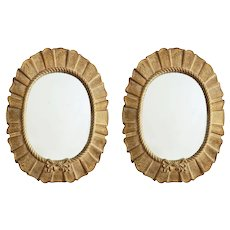 Pair Large Oval Decorator Mirrors Taupe Pleats and Bows Frames