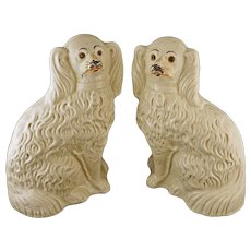 Pair Staffordshire Glass Eyes Spaniel Dogs Off White - England