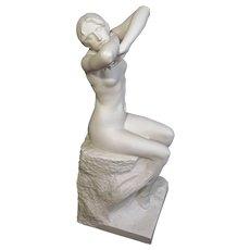 Sevres Biscuit Female Nude Sculpture L'Aurore after Rene de Saint Marceaux Signed Large Figure Antique Statue - 1903, France