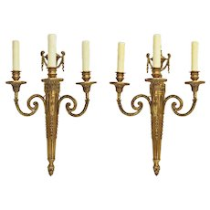 Pair French Empire Style 3 Light Bronze Sconces / Appliques Wall Fixtures