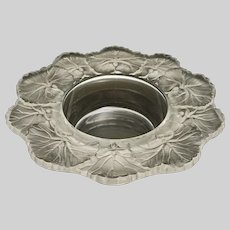 French Lalique Honfleurs Bowl Geranium Border Frosted Signed Lalique France Candy Dish - 20th Century, France
